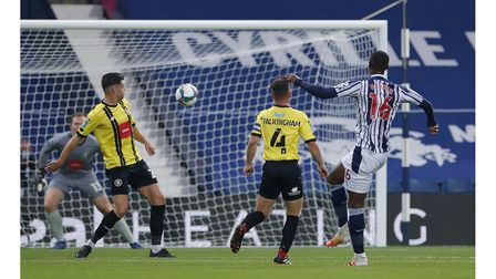 West Bromwich Albion's Rekeem Harper scores his side's first goal of the game during the Carabao Cup