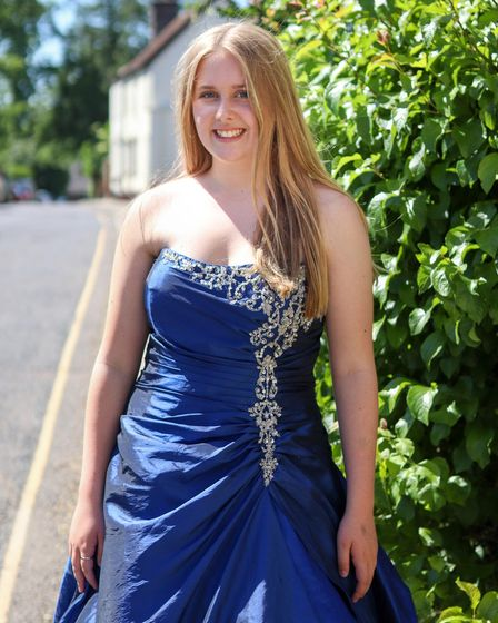 Mia Smith modelling a dress from the prom collection at the Dunmow Farleigh Hospice bridal and prom store