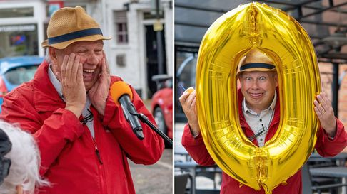 BBC Radio Cambridgeshire reporter Johnny Dee's 60th birthday bash was broadcast live from March market place