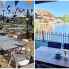 The outdoor seating at Sara's Tearooms, in Great Yarmouth, and Old Mill Café Bar, in Wroxham.