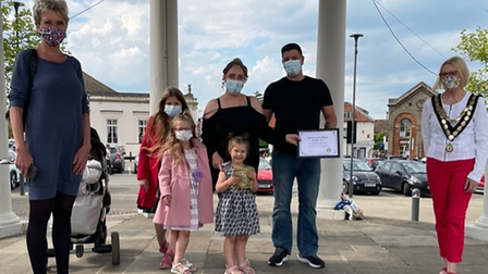 Esme Lambert and her family received the award in Swaffham