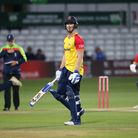 Jimmy Neesham of Essex leaves the field having been dismissed for 28 againstHampshire Hawks