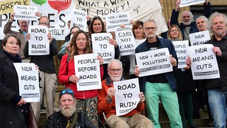 Protesters at City Hall against councils borrowing money to pay for the NDR. Picture: DENISE BRADLEY