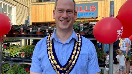 Mayor of Attleborough Philip Leslie at the official opening of the new Myhills store.