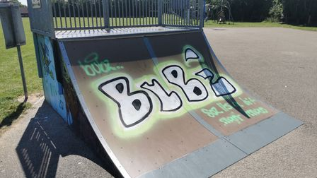Oakes Playing Field, in Cawston, has been covered in graffiti