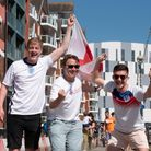 Jack Marklove, Callum Frost and Jacob Hatcher celebrate England's win. Picture: Sarah Lucy Brown