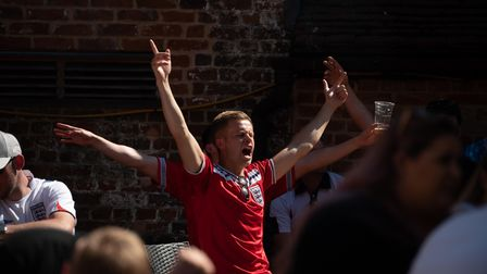 England fans at Isaacs celebrate Rahim Sterling's goal against Croatia in the European Championship.