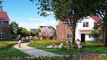 A computer-generated image of the homes being built at Marham Park
