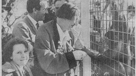 Coco the clown and Ian Hendry at Cromer Zoo for its opening day in 1962