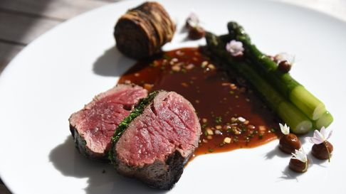 Beef fillet with crispy beef brisket and asparagus at The Brewers in Rattlesden