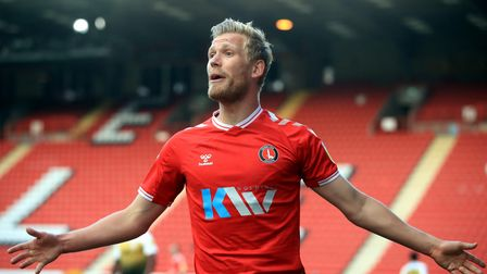 Charlton Athletic's Jayden Stockley appeals to the assistant referee during the Sky Bet League One m