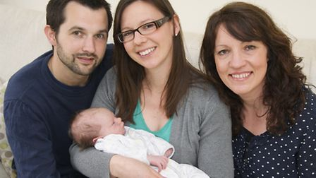 Hypnobirthing teacher Aneesh de Vos (right) with Bawdeswell couple Gavin (left) and Emma (centre) Ra