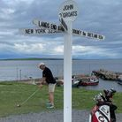David atJohn O'Groats with first of 10,000 swings towards Land's End.