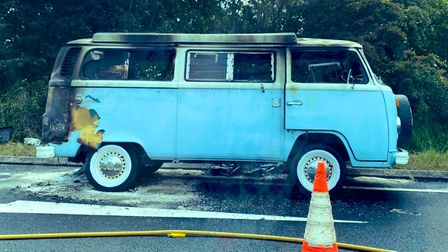 This blue camper van was gutted by a fire on the A47 at Hopton-on-Sea on Monday.