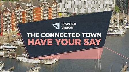A text box saying Ipswich Vision the connected town have your say over a picture of buildings and boats at Ipswich waterfront