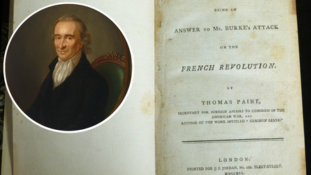 A rare copy of Rights of Man by Thomas Paine (portrait inset) is going for sale by auction in Norfolk.