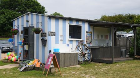 Another recycled building at the Blue Skies Campsite, Wells-next-the-Sea, is the reception and shop