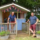 Blue Skies Campsite owners, Chris Walsingham, left, and Patrck Weston, with their recycled beach hut