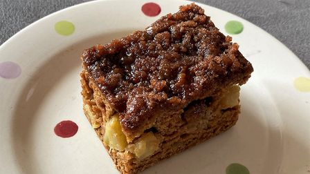 A dark cake with chunks of apple in on a spotty plate