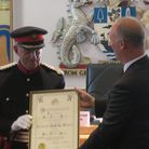 Naval Cmdr John Ludgate receives Freedom of Borough award in 2018 from Tower Hamlets chief executive Will Tuckley