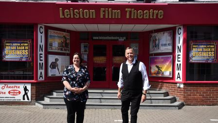 Assistant manager Becky Nichols with Manager Wayne Burns. Staff at Leiston Film Theatre thankful for