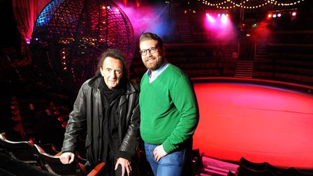 Peter Jay with his son Jack Jay at the Hippodrome Circus in Great Yarmouth. December 2014. Pictu