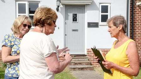 Rosemary Jensen collects signatures and listen to the concerns of Dunmow residents