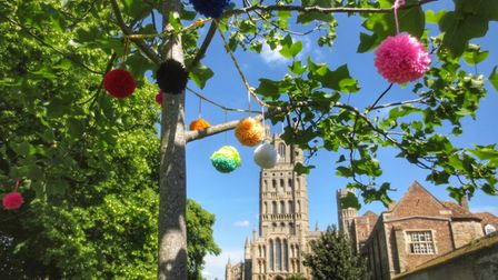 Yarn bombing in Ely by the WI.