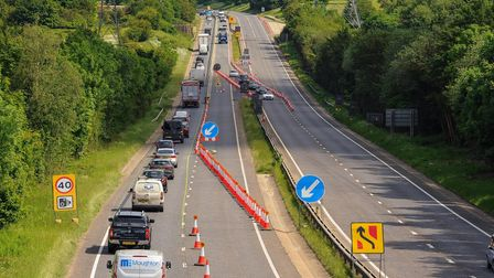A view of the roadworks on the A47 from Intwood Road. Picture: Danielle Booden