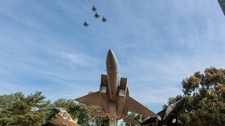 The 493rd Fighter Squadron flew over Heritage Park on base in a Missing Man Formation.