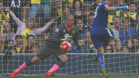 Jamie Vardy rifles a penalty past John Ruddy in Leicester City's 2-1 Premier League win over Norwich