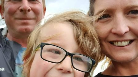 Laura Kellingray and Darren Hammond, from Dereham, with their six-year-old son.