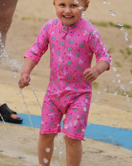 Nancy Smith, two, enjoying the water sprays at Waterloo Park. Picture: DENISE BRADLEY