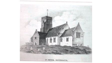 A drawing of the now-vanished St Peter Southgate Church in Norwich, which stood on King Street. Its