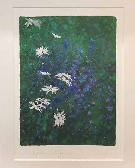 Daisies and delphiniums byColin Self