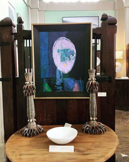 Painting by Bruer Tidman, bowl by Teucer Wilson, sculptures by Carolyn Brookes