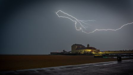 Lightning bolts above Great Yarmouth caught in the early hours of Thursday morning.