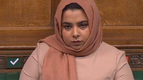 Poplar & Limehouse MP Apsana Begum... taking part in Commons debate in 2020 on Westferry housing scheme on Isle of Dogs