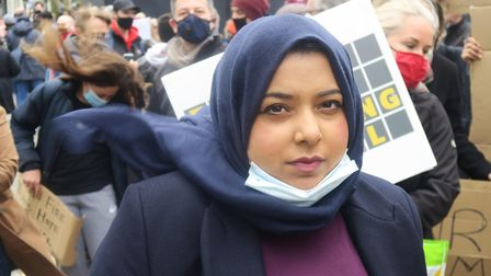 Apsana Begum at cladding protest at Canary Wharf in May, 2021