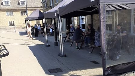 Outside dining area at The George Hotel in Whittlesey