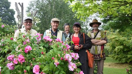 Rose experts and enthusiasts Ian and Tina Limmer, Miles Leigh and Bev Bond with Major Grahame of Daw