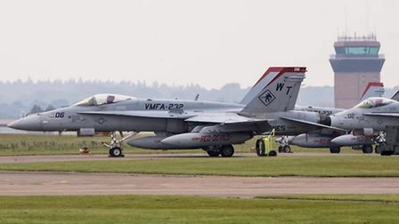 One of the F-18 aircraft at Lakenheath, pictured on Sunday. Credit: Mark Rourke/Pixelsnipers