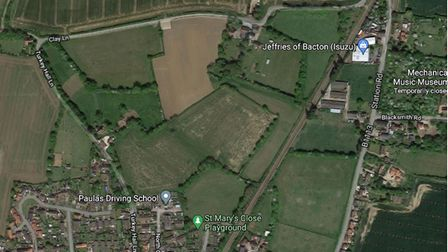 Bacton, where the 51 homes are proposed to the northeast of Turkey Hall Lane.