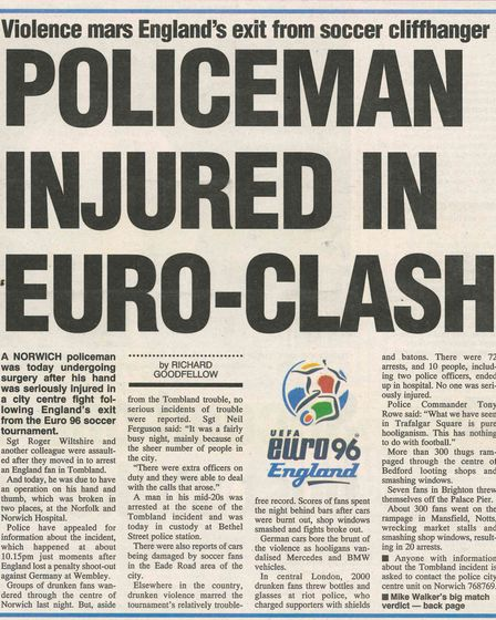 Newspaper cutout from Euro 96.