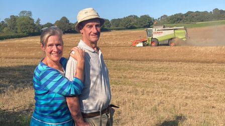 Paul and Jenny Buxton at Park Farm in Heydon, where the Buxton family has farmed for 100 years