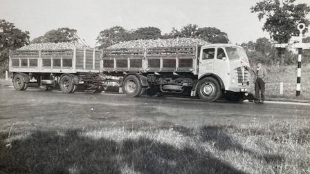Driver Ray Newson with the Buxton family's fully-loaded Foden lorry and trailer in the1950s