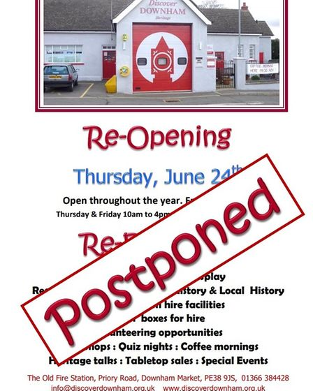 Discover Downham said it hasreluctantly decided not to reopen on June 24 as planned.