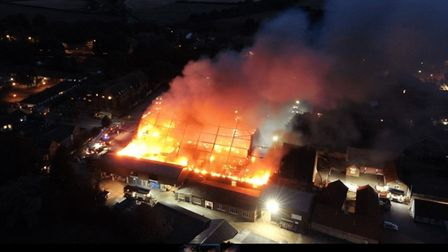 A drone captures Budgens of Holt of fire Photo: O Birch