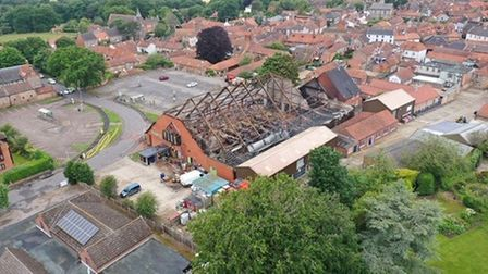 Aerial photos of Budgens in Holt after it was devastated by fire. Pictures: Nick Bryant