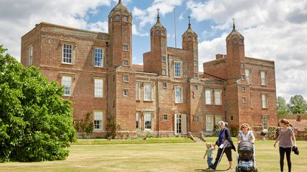 Visitors in the garden at Melford Hall, Suffolk